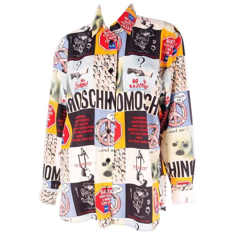 Moschino 1990s Slogan Printed Shirt 1