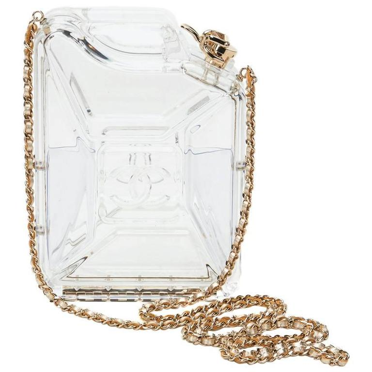 2010s Chanel Clear Plexiglass Dubai by Night Gas Can Minaudiere For Sale