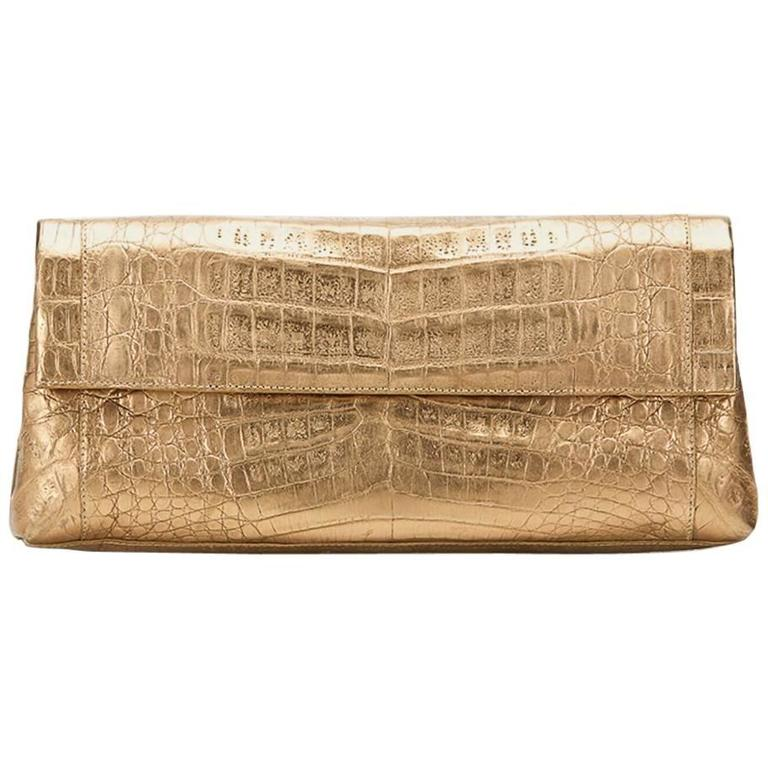 2000s Nancy Gonzalez Gold Crocodile Leather Clutch For Sale