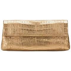 2000 Nancy Gonzalez Gold Crocodile Leather Clutch