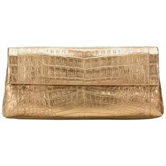 2000 Nancy Gonzalez Gold Crocodile Leather Clutch