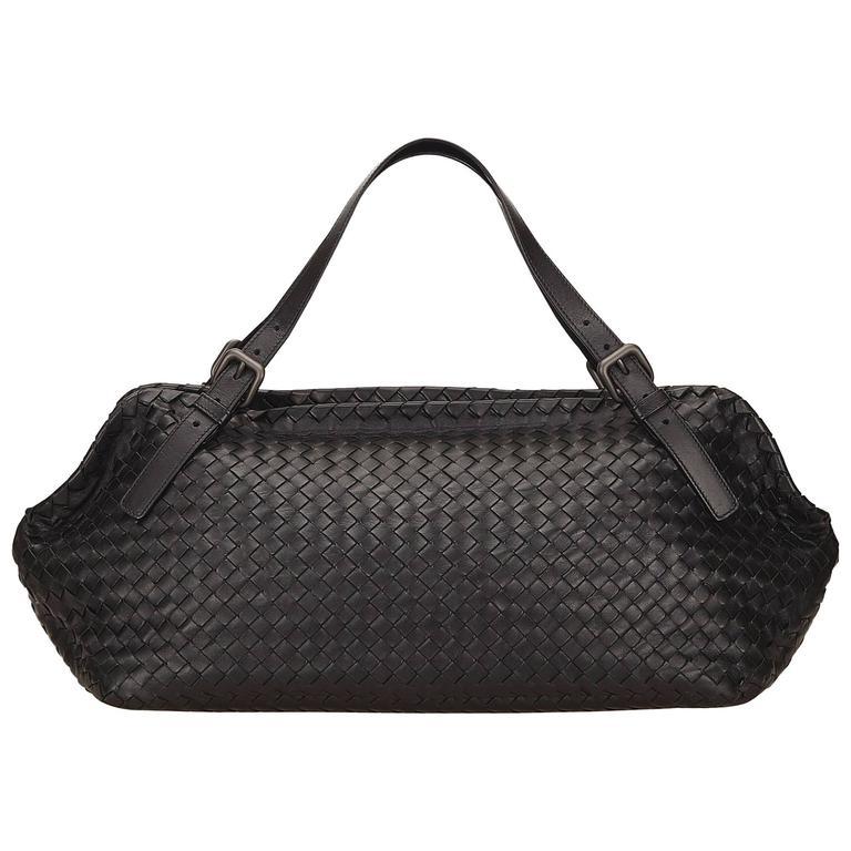 9daf8d50f6be Bottega Veneta Black Intrecciato Leather Duffel Bag For Sale at 1stdibs