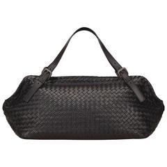 Bottega Veneta Black Intrecciato Leather Duffel Bag