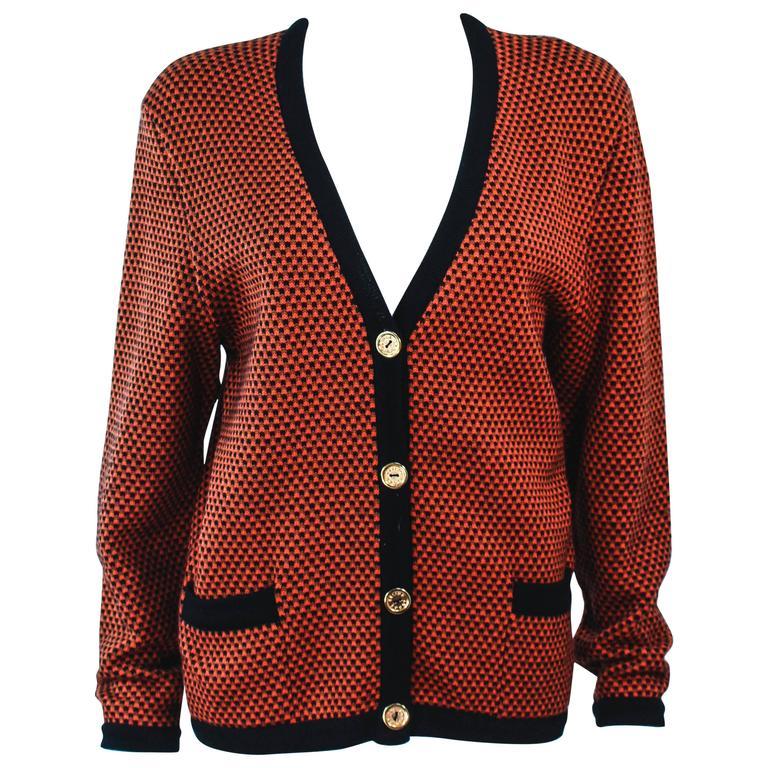 CELINE Vintage Orange & Brown Printed Wool Sweater Size 6 8