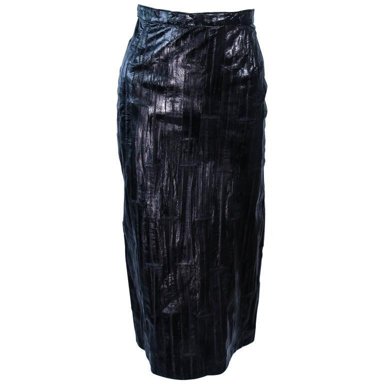 KRIZIA Vintage Black Eel Skirt Size 4 1