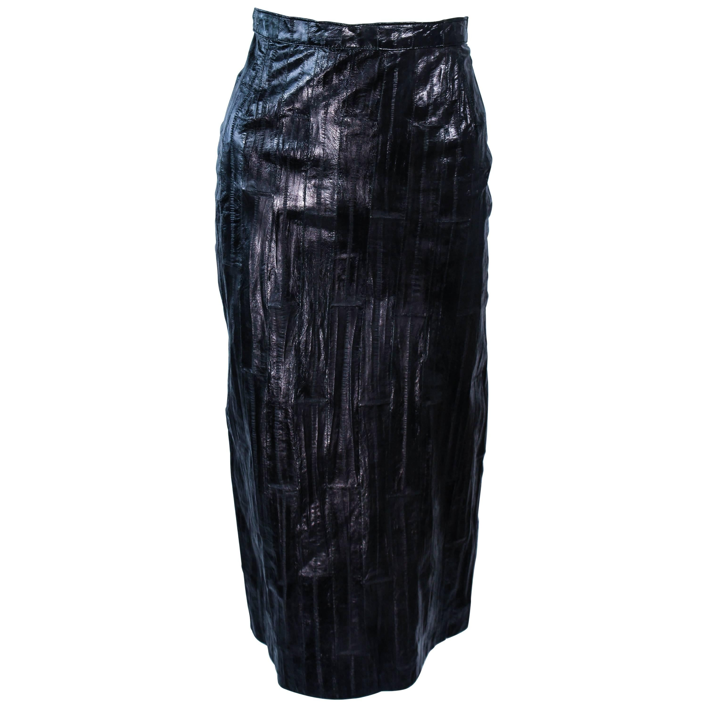 KRIZIA Vintage Black Eel Skirt Size 4
