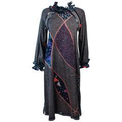 KOOS Printed Wool Mixed Multi Fabric Ruffle Dress Size 8