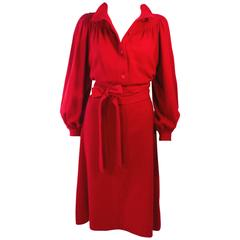 UNGARO Vintage Red Wool Cashmere Blend Dress Size 8