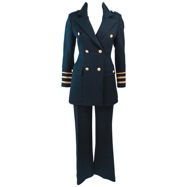 GEINTER PROJECT Black Wool Tailored Sailor Pant Suit Size 6 8 For Sale