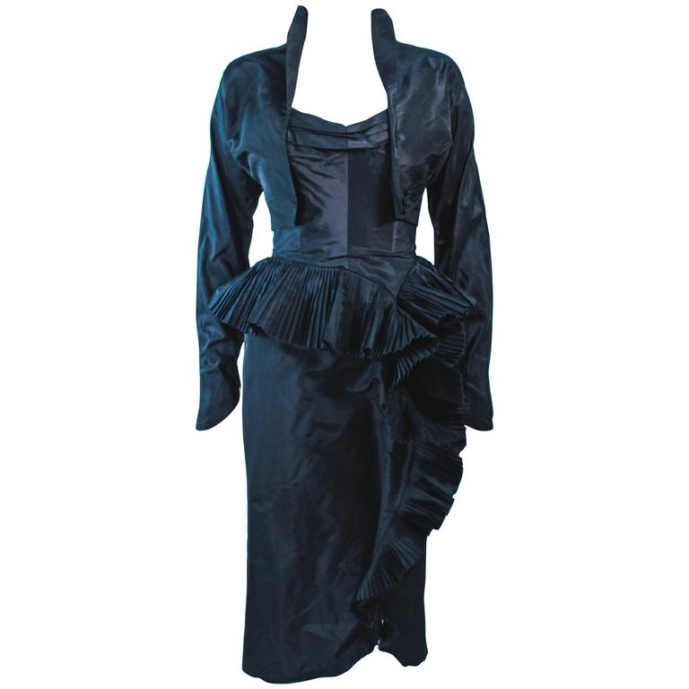 IRENE Black Silk Cascading Ruffle Cocktail Gown and Jacket Size 4 1