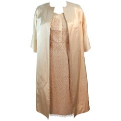 Cream Silk 1960's Beaded Cocktail Dress and Coat Size 6 8