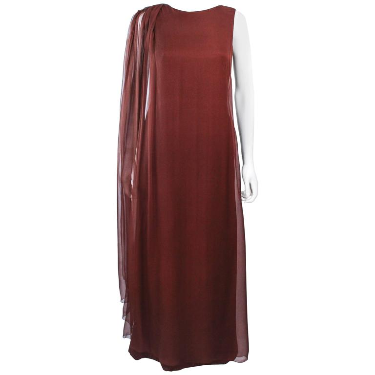 GALANOS 1970's Brown Silk Chiffon Draped Gown Size 4 6