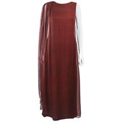GALANOS 1970's Brown Silk Chiffon Draped Gown Size 4 6