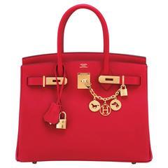 Hermes Rouge Casaque Epsom 30cm Birkin Lipstick Red Gold Hardware Gorgeous