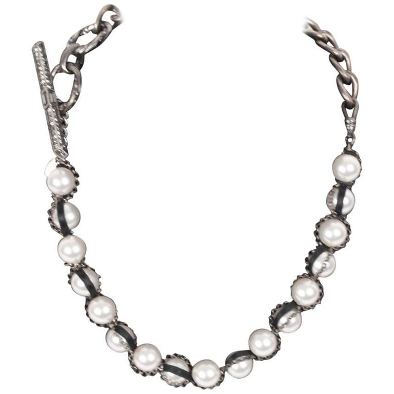 Lanvin Pearl Necklace: LANVIN Silver Metal And Pearls NECKLACE W/ Toggle Closure