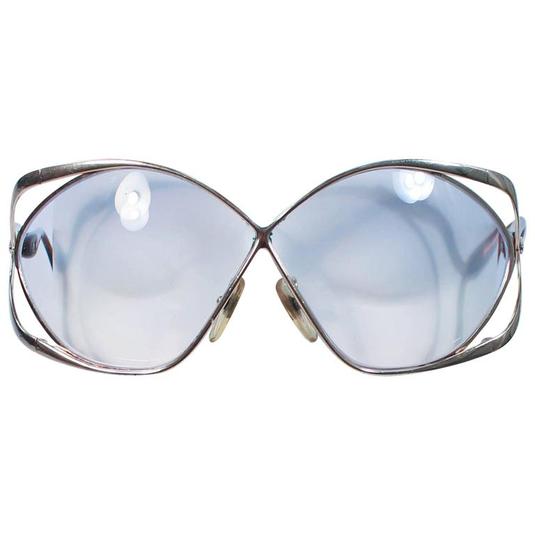 CHRISTIAN DIOR Vintage Oversize Gold and Brown Sunglasses