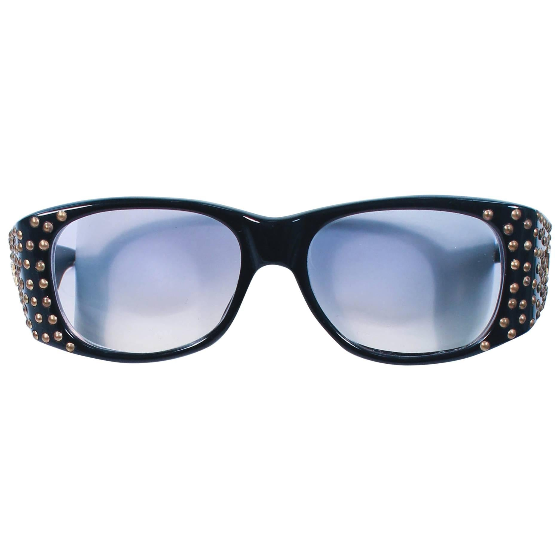 EMMANUELLE KHANH 1980's Black Sunglasses with Gold Metal Stud Accents