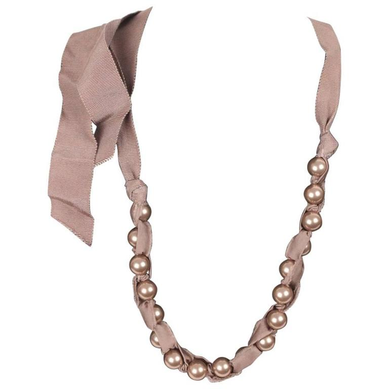 Lanvin Pearl Necklace: LANVIN Taupe Grosgrain Ribbon And Pearls NECKLACE W/ Tie