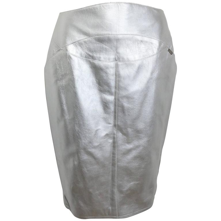 Chanel Silver Metallic Lambskin Leather Knee Length Pencil Skirt