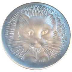 A Lalique ice blue cat brooch