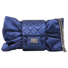 2000s Chanel Blue Silk Satin Bag