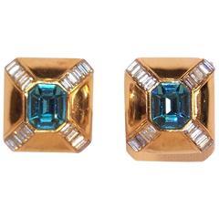 Art Deco Style 1980's Ciner Aquamarine Rhinestone Gold Tone Earrings