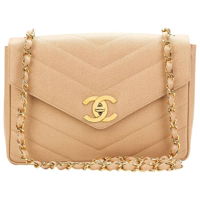 ... PursesShoulder Bags. 1990s Chanel Beige Chevron Quilted Caviar Leather  Vintage Single Flap Bag For Sale d143f436650d9