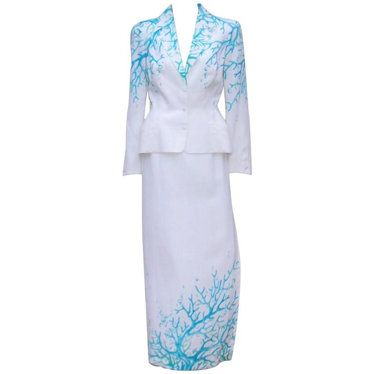 1980's Thierry Mugler White Linen Evening Suit With Aqua Coral Print 1