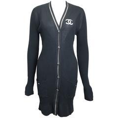 "Chanel Black Stripe Cotton and Silk ""CC"" with Mesh Trim Shawl Neck Long Cardigan"