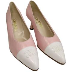 "Chanel Bi Colour Pink/White ""CC"" Leather Pointy Heels"