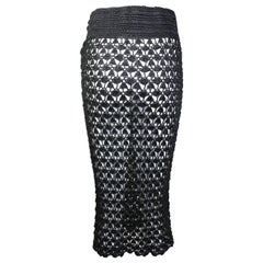 Dolce and Gabbana Black Handmade Knitted Knee Length Pencil Skirt