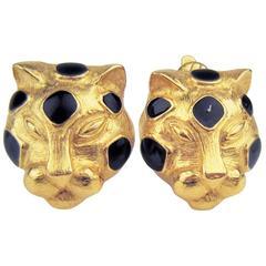 TRIFARI vintage enamel figural panther  earrings