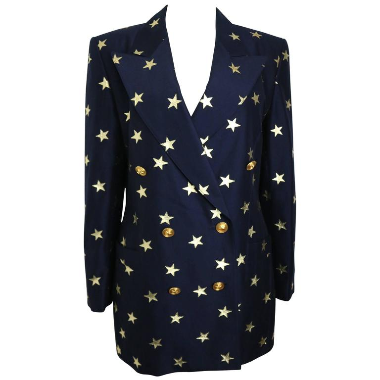 Escada Navy with Gold Stars Double Breasted Blazer For Sale