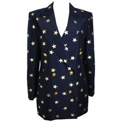 Escada Navy with Gold Stars Double Breasted Blazer