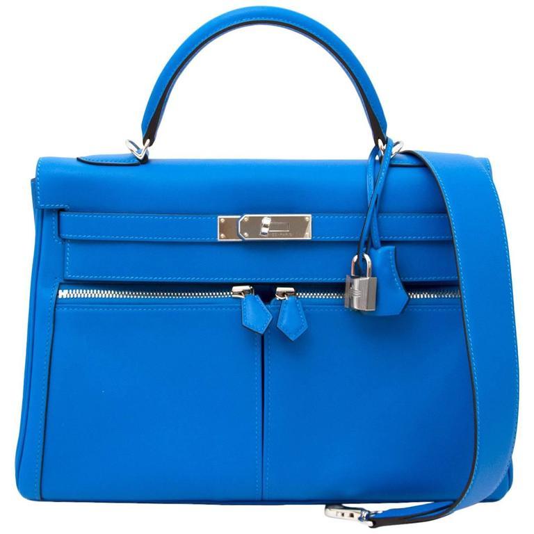Hermès Kelly Lakis 32 Veau Swift Bleu Hydra PHW