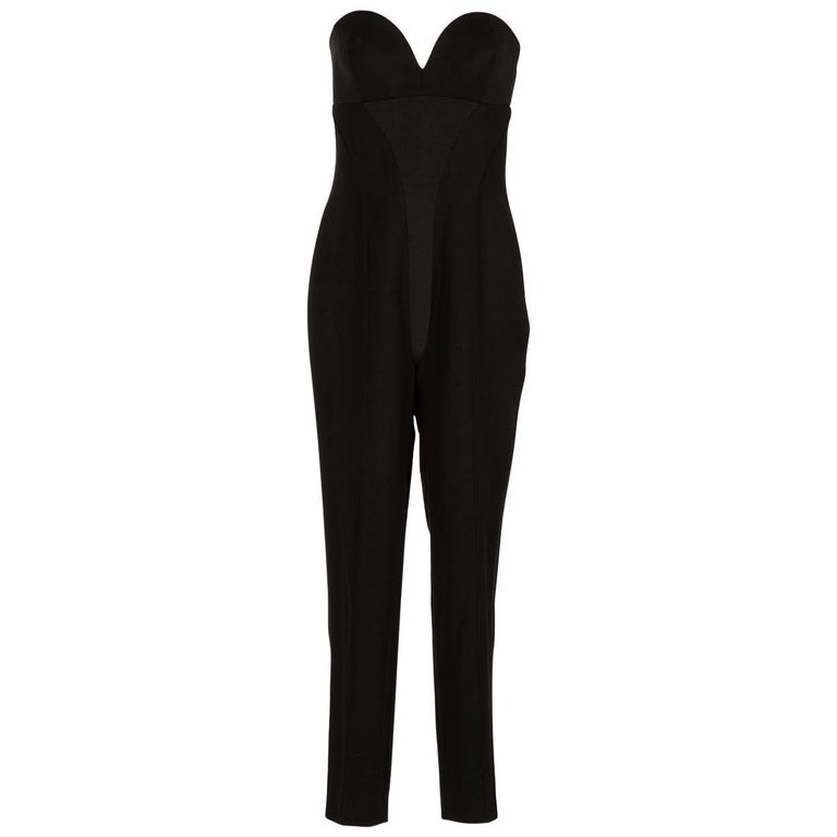90-s Vintage Gianni Versace Couture Strapless Black Jumpsuit