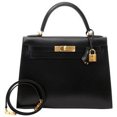 Brand New Hermes Kelly 28 Black Boxcalf
