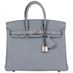 Hermes New Birkin 25 Gris Mouette Togo Bag