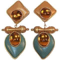Exotic 1980's Gold & Teal Leather Drop Dangle Earrings