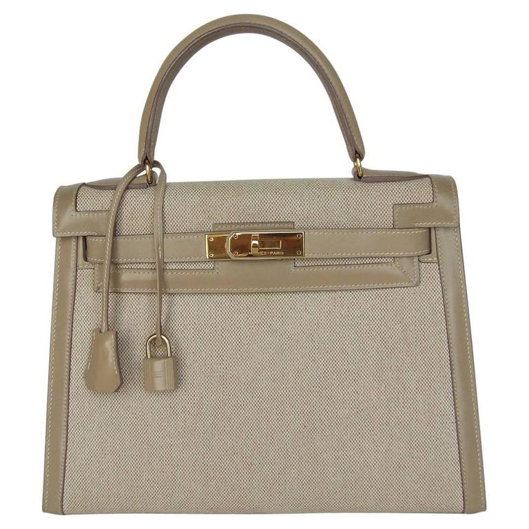 Gorgeous Hermes Kelly 28 Sellier Rigid Bag Bi Matiere Canvas Leather Beige GHW 1