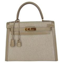 Gorgeous Hermes Kelly 28 Sellier Rigid Bag Bi Matiere Canvas Leather Beige GHW