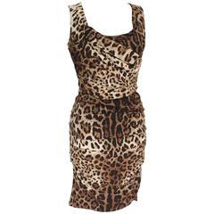 £1100 Dolce & Gabbana Leopard Print Dress 44 UK 12