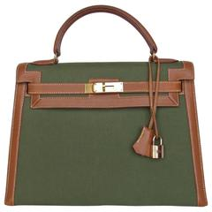Hermes Kelly 32 Sellier Bag Bi Matiere Green Canvas Cognac Leather GHW Rare