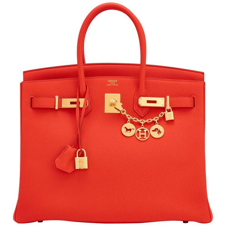 Hermes Capucine Orange Red 35cm Togo Birkin Gold Hardware For Sale ... 0a3a4d1561