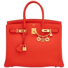 Hermes Capucine Orange Red 35cm Togo Birkin Gold Hardware