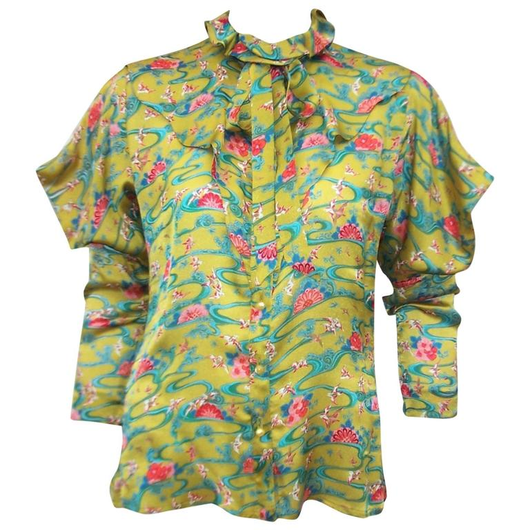 Asian Inspired 1970's Emanuel Ungaro Silk Chartreuse Blouse
