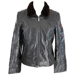 1980s Roccobarocco black fur collar jacket