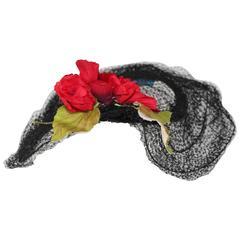 1950s Gilbert Orcel Anemone Paris Black Hat Lace Flower
