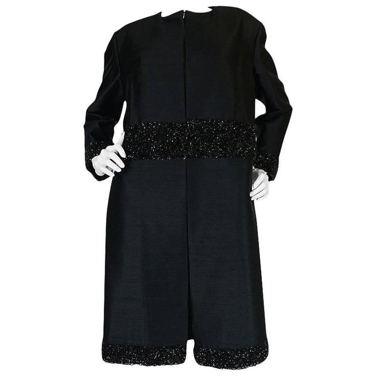 Beautiful 1950s Densely Beaded Black Silk Evening Coat