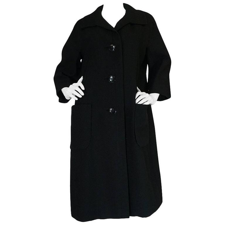 1950s Christian Dior Demi-Couture Black Voluminous Coat